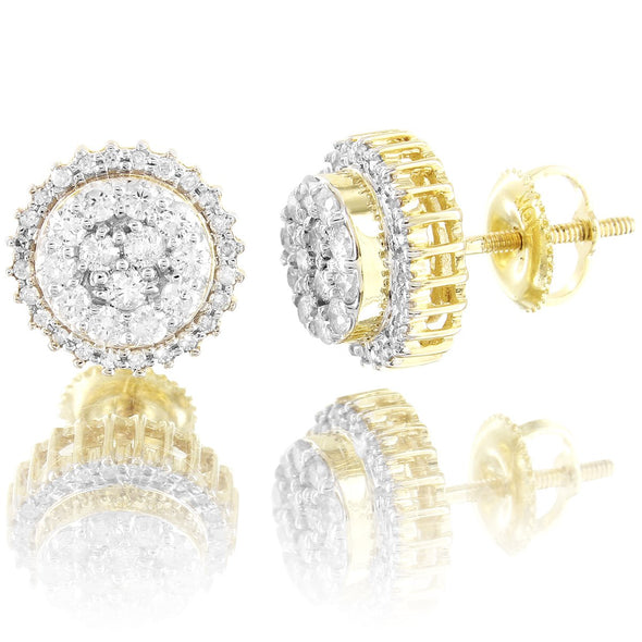 10K Gold Round Flower Cluster Diamonds Micro Pave Earrings