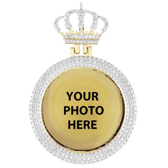 10k Yellow Gold Picture Pendant With Crown Pave Set Bezel