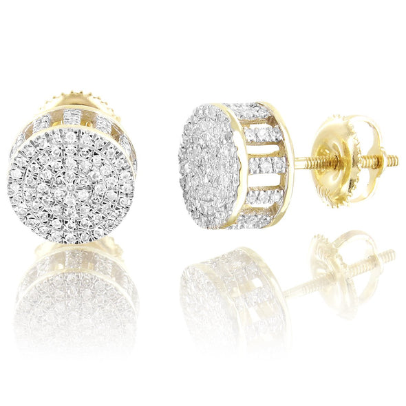 Round Cluster Diamonds 10K Gold Screw Back Studs Earrings