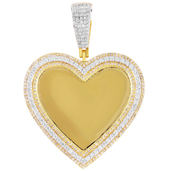 10K Gold 3 Row Diamonds Heart Picture Pendant