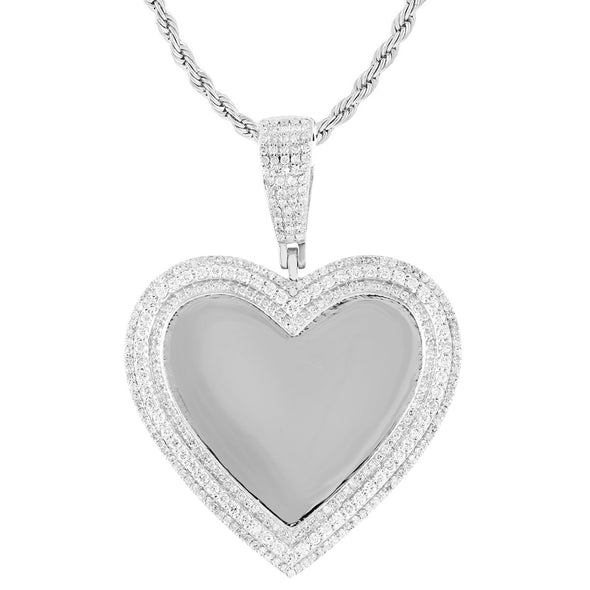 10K White Gold 3 Row Diamonds Heart Picture Pendant