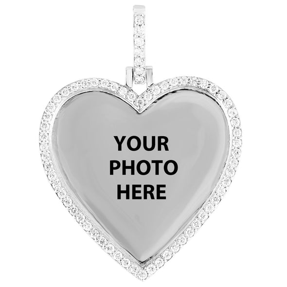 10K White Gold Heart Memory Pendant Diamond Bezel