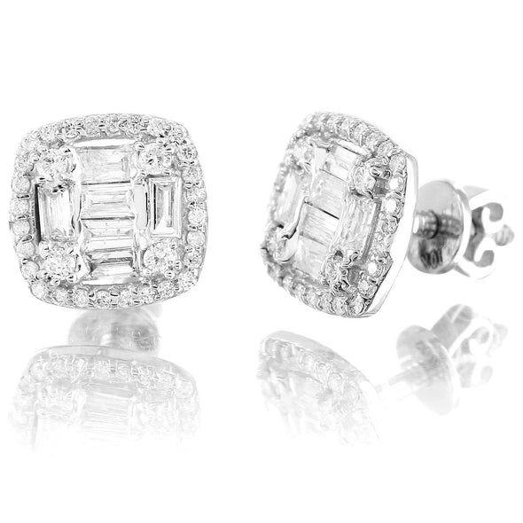 10K White Gold Halo Square Baguette Diamond Earrings