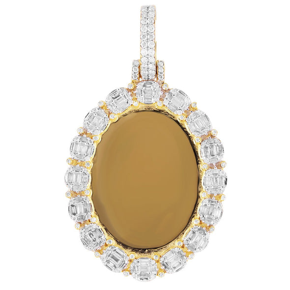 Baguette Diamonds Oval Picture Pendant 10K Gold