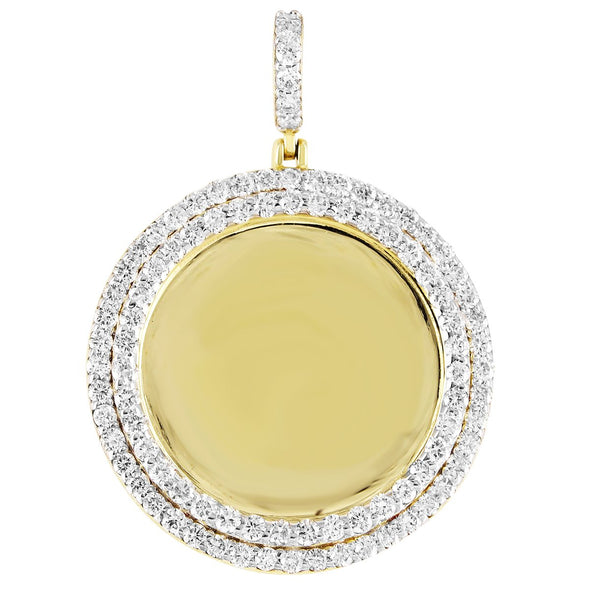 10K Gold Two Row Diamond Bezel Picture Pendant