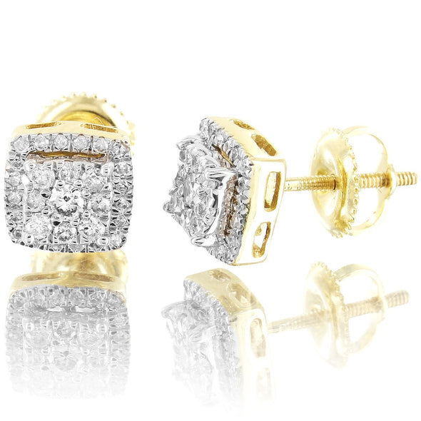 10K Gold Diamonds 3D Square Shape Prongs Unisex Stud Earrings