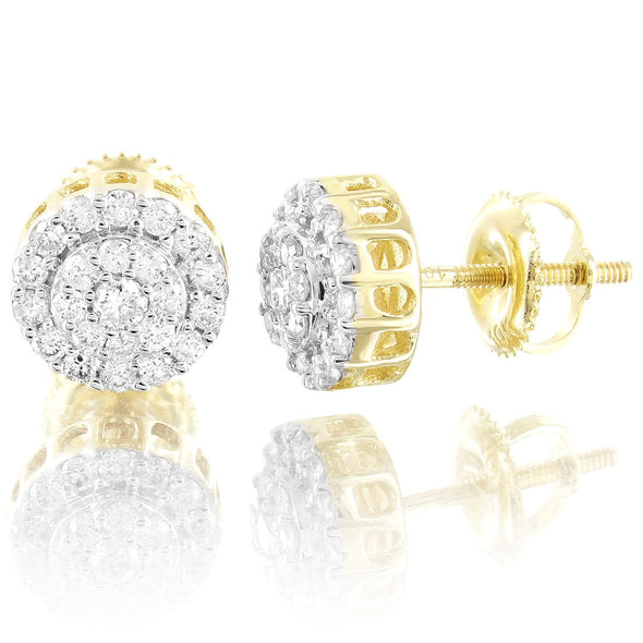 Round Solitaire 10K Gold Double Layer Diamond Studs Earrings