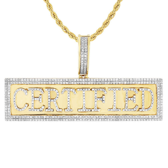 10K Gold Certified Pendant Two Row Diamond Bezel