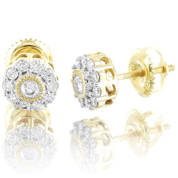 10K Gold Soliatire Center Flower Cluster Diamond Studs Earrings