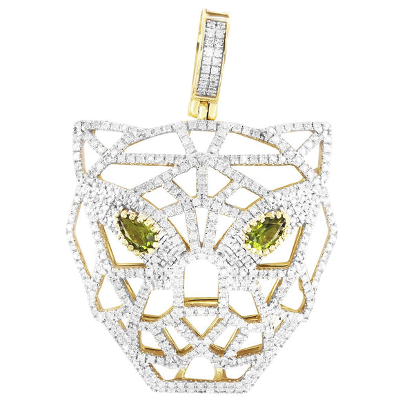 10K Gold Diamonds Panther Face Peridot Gemstone Eye Pendant