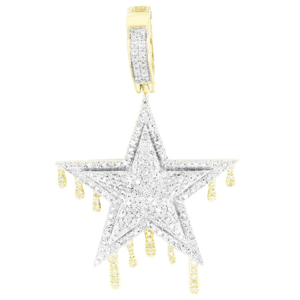 Double Layer Diamonds Dripping Star 10K Gold Pendant