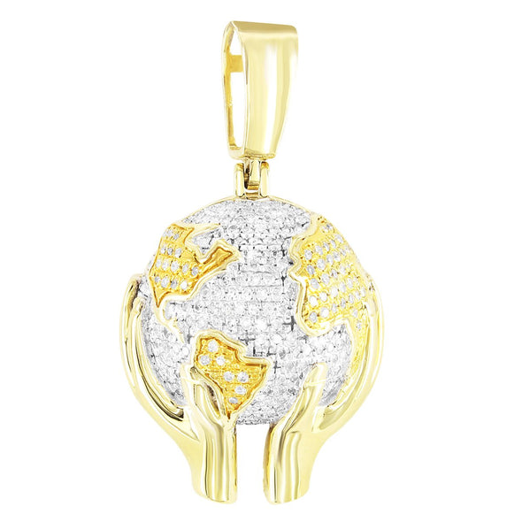 World Is Yours Globe Hands 10K Gold Diamonds Pendant