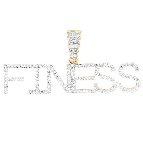 10K Gold Diamonds FINESS Custom Initials Name Pendant