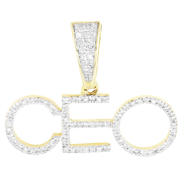 Block Letters Initial CEO 10K Gold Diamonds Custom Pendant
