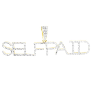 Single Layer Block Letters 10K Gold Diamonds SELFPAID Pendant