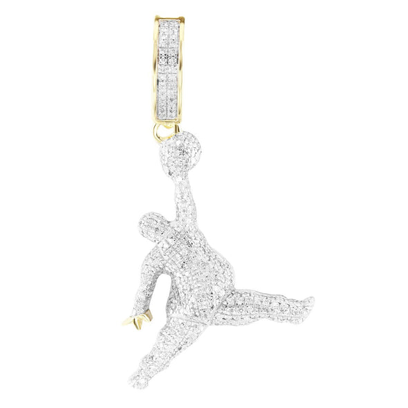 Fat Jump Man Basketball Player Diamonds 10K Gold Pendant