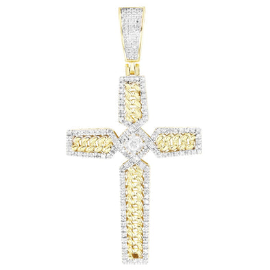 Cuban Link Solitaire Diamond Unique Cross 10K Gold Pendant