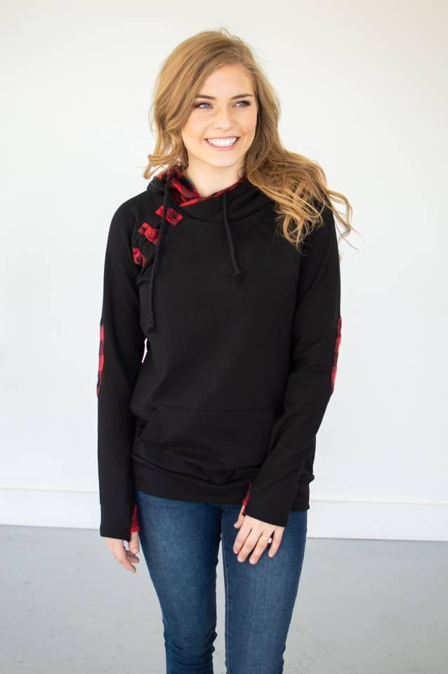 Black Buffalo Plaid Accent Hoodie