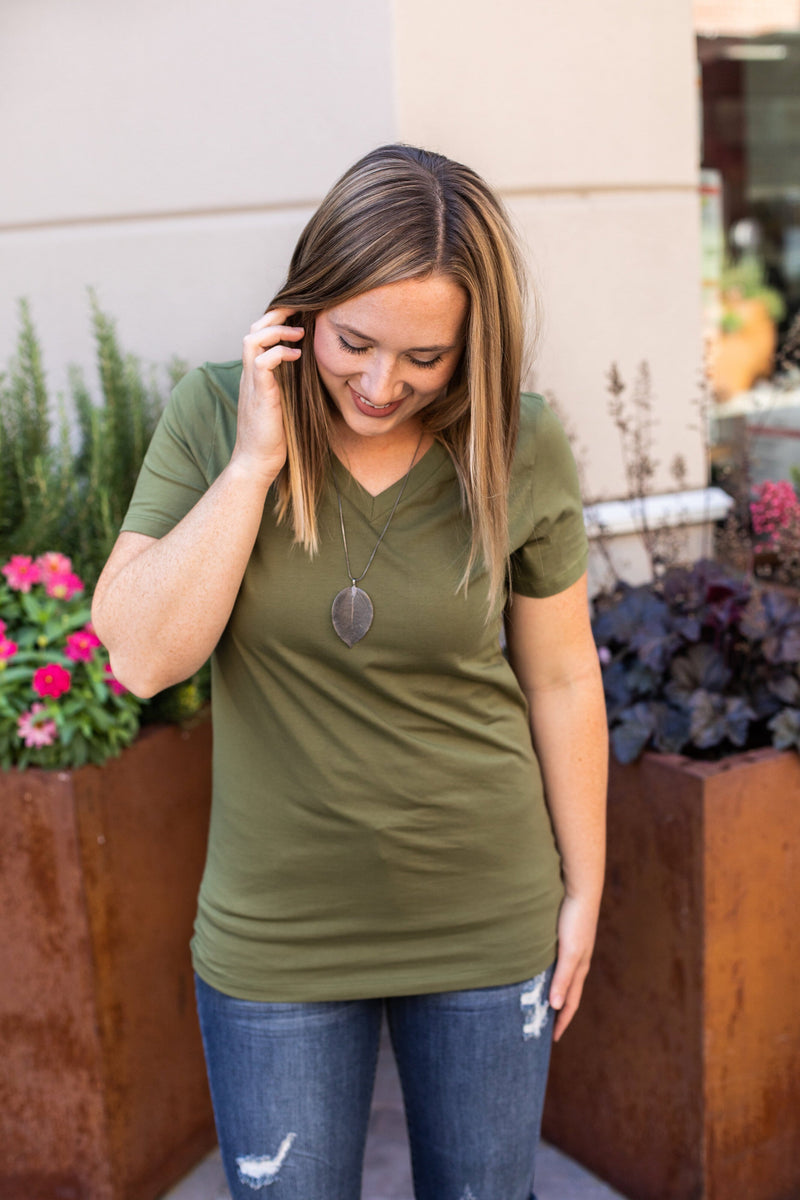 11.23 Arrival Classic V-Neck Tee - Olive COMING SOON - Jude & Jay Boutique
