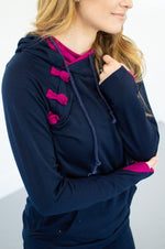 Navy and Magenta Accented Hoodie