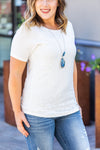 IN STOCK Lace Front Tee - White