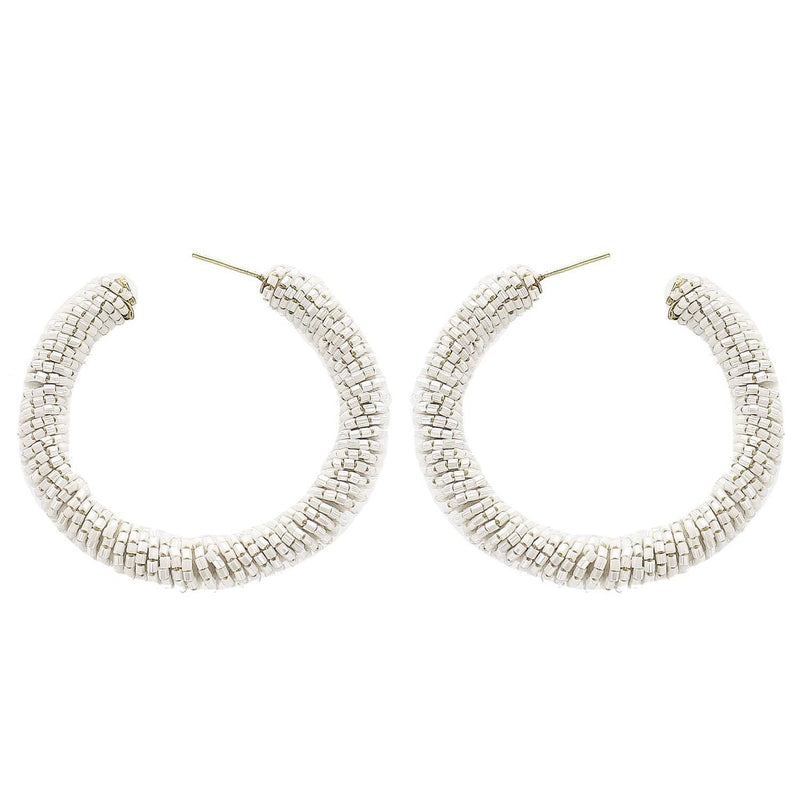 White Beaded Hoop Wholesale Earrings