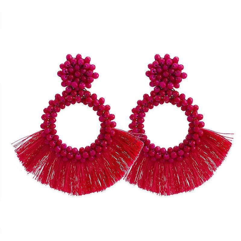 Red Tassel and Glass Bead Wholesale Earrings
