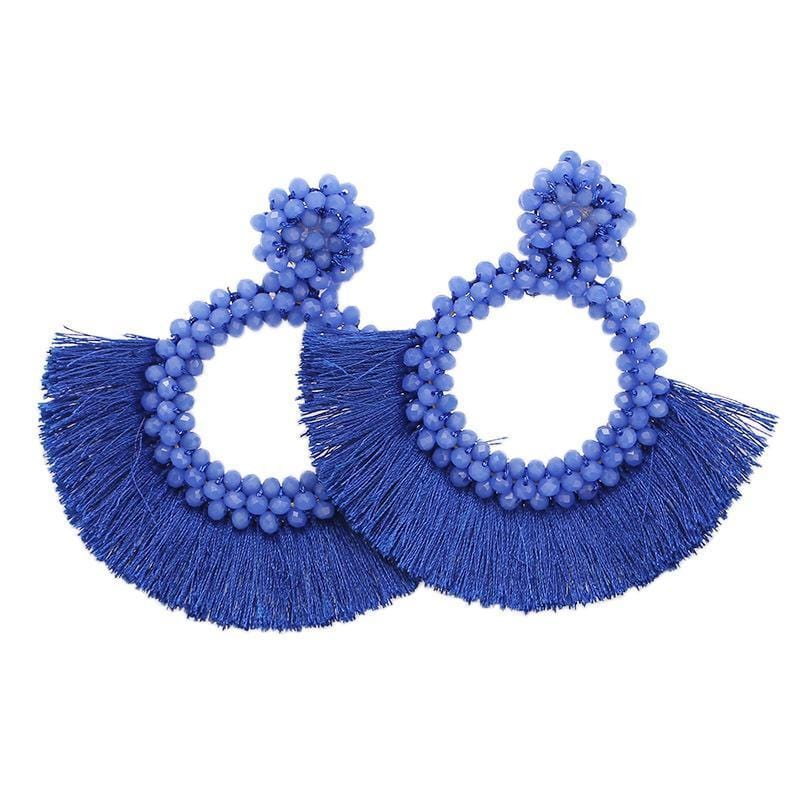 Royal Blue Tassel and Glass Bead Wholesale Earrings
