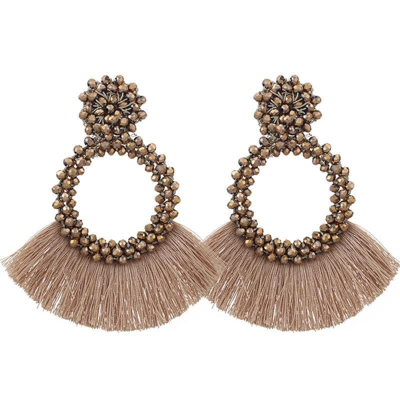 Gold Tassel and Glass Bead Wholesale Earrings