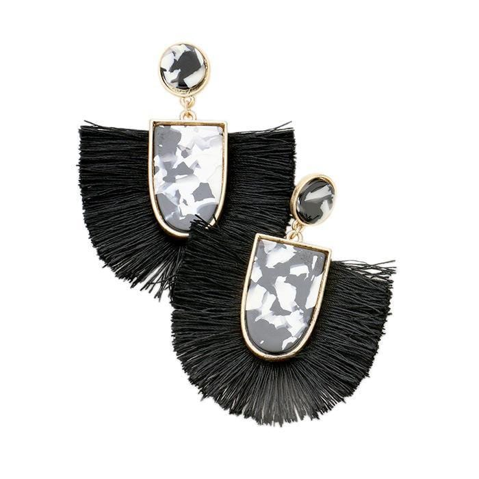 Black Tassel/Acrylic Wholesale Earrings