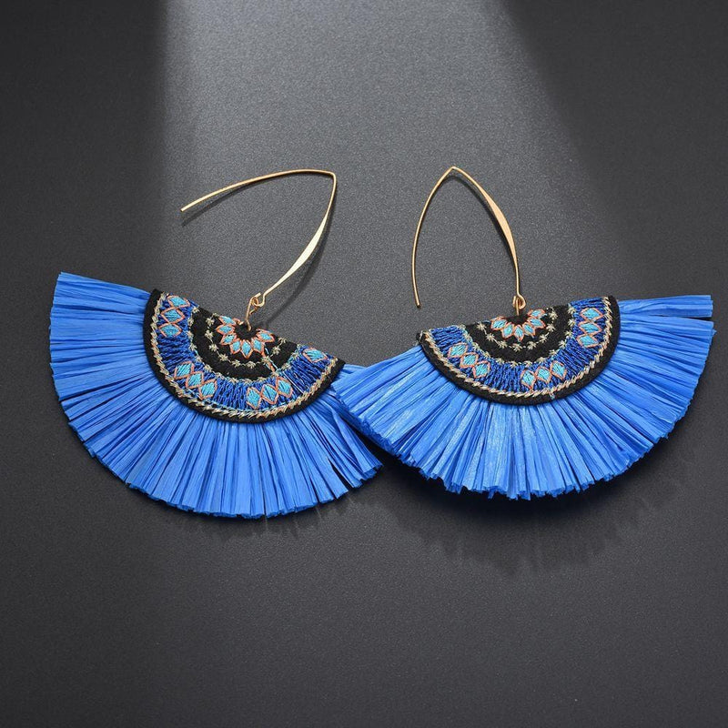 Blue Raffia Fan Wholesale Earrings