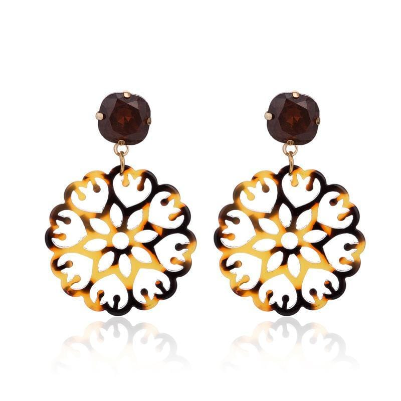 Brown Acrylic Laser Cut Round Wholesale Earrings