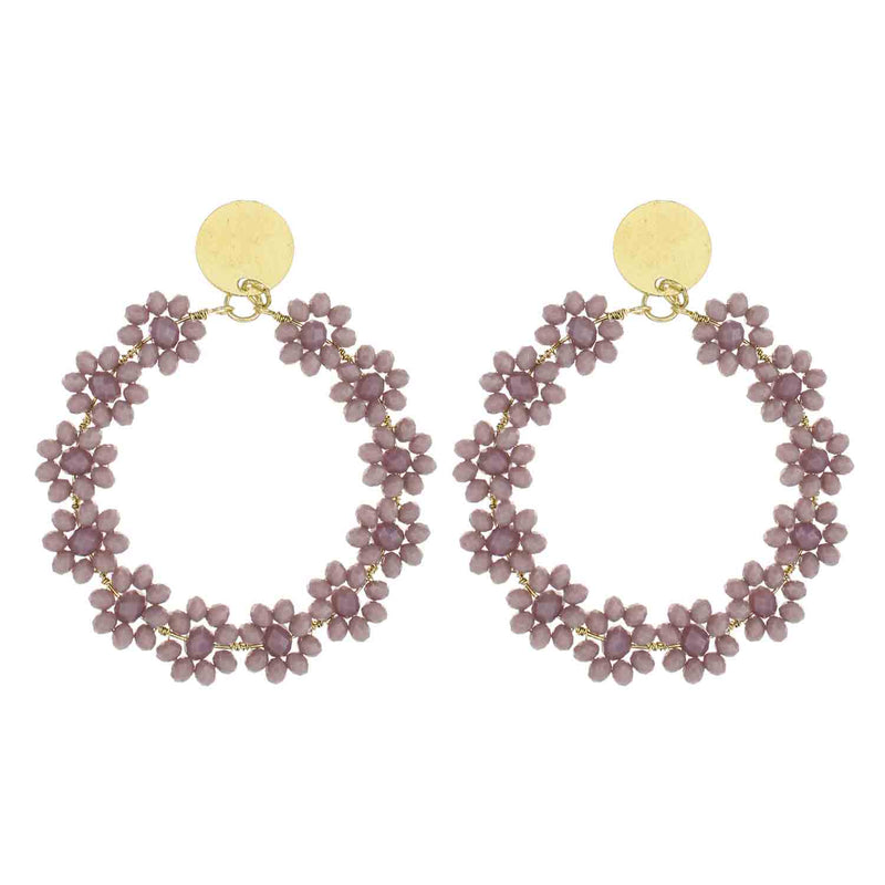 Lilac Beaded Flower Circle Wholesale Earrings