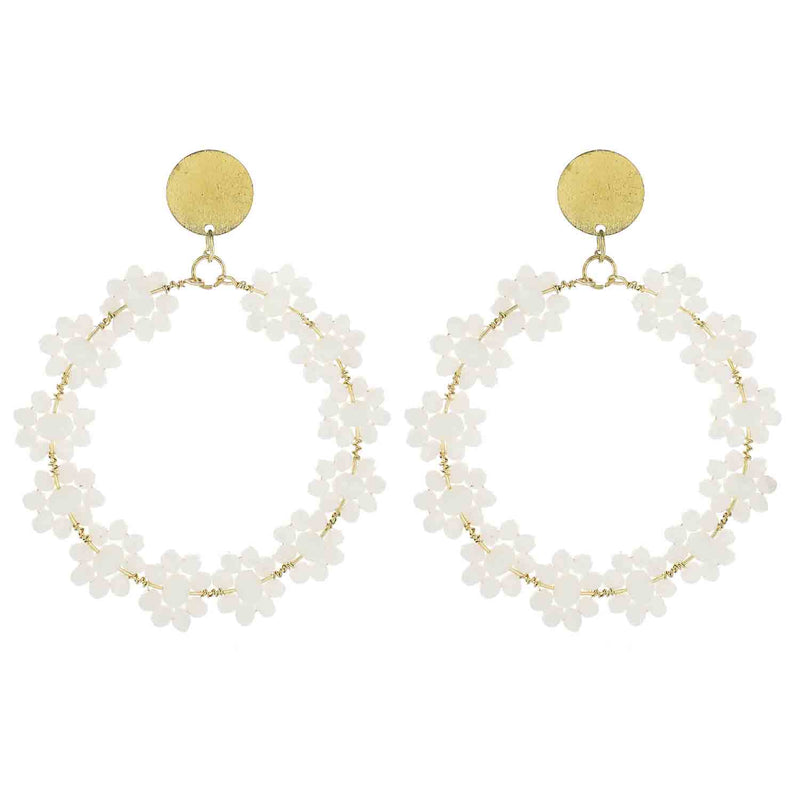 White Beaded Flower Circle Wholesale Earrings