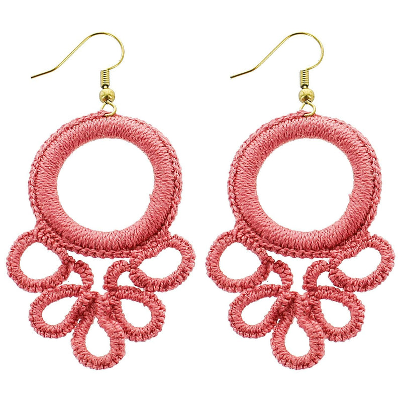 Pink Circle Wrapped Wholesale Earrings