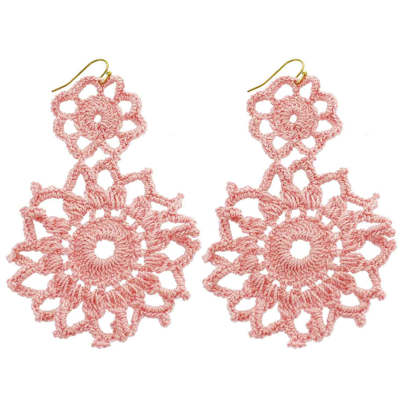 Light Pink Hand Crochet Double Flower Wholesale Earrings