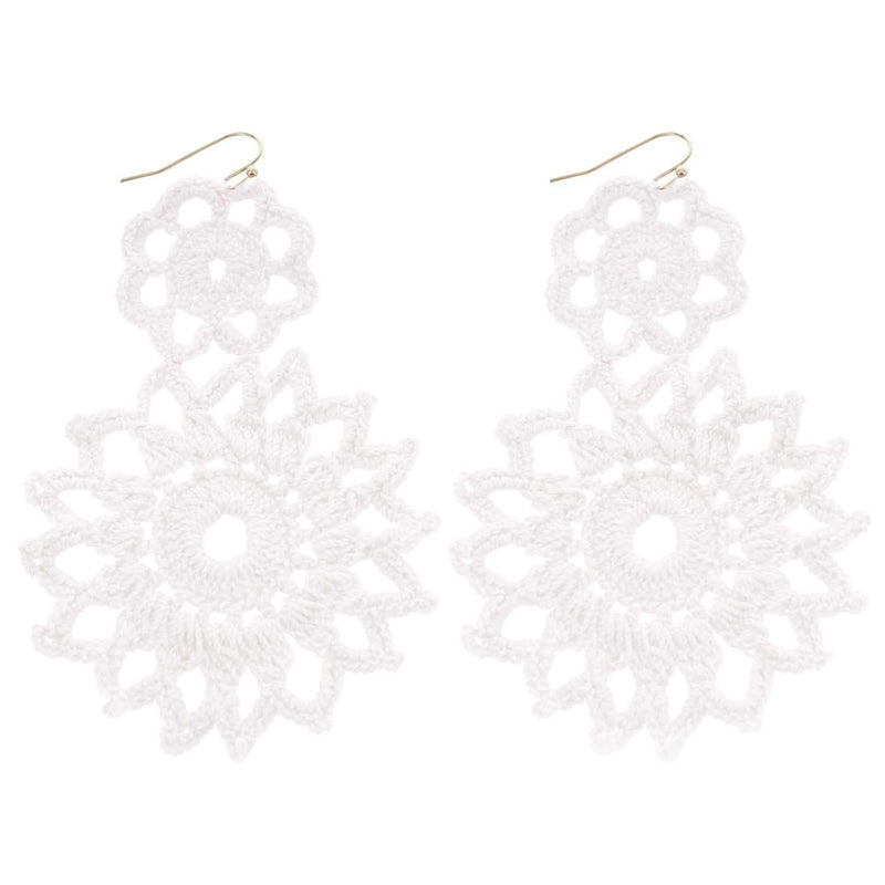 White Hand Crochet Double Flower Wholesale Earrings