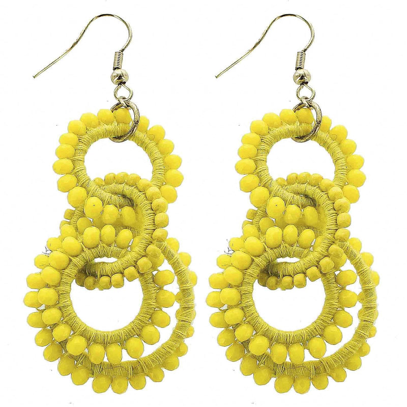 Yellow Beaded Circles Wholesale Earrings