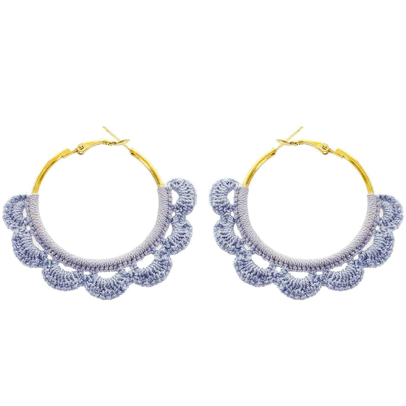 Blue Crochet Hoop Wholesale Earrings