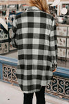Black Turn-down Collar Plaid Shirt Coat