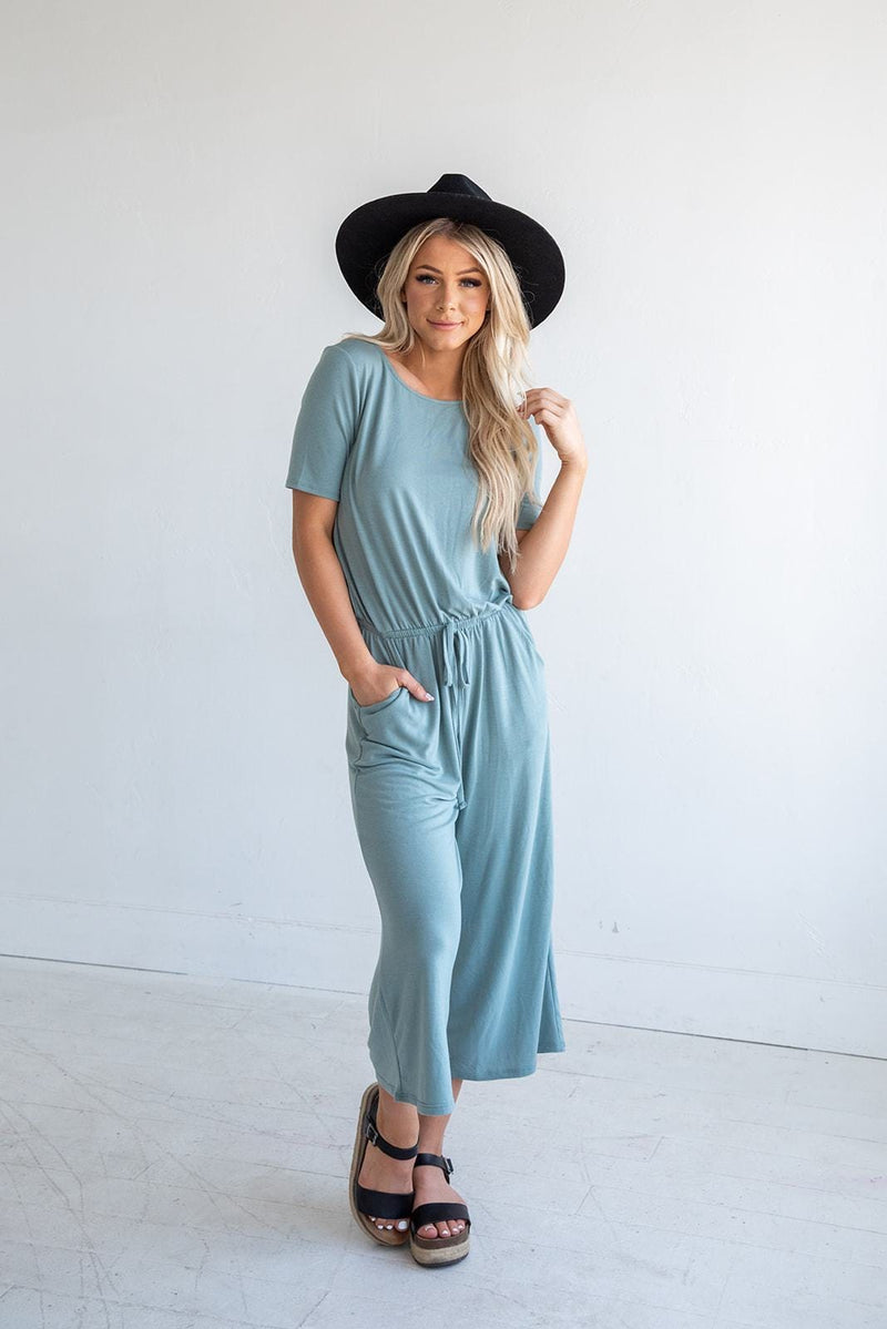 Try Something New Capri Jumpsuit- Lt Green