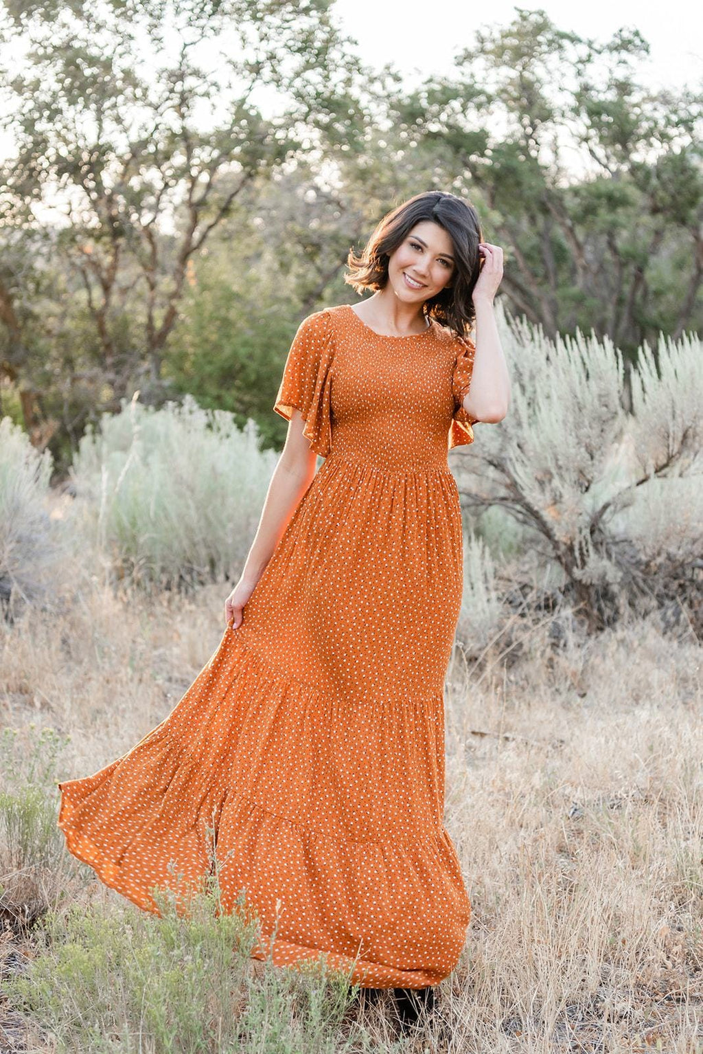 Forever Young Floral Maxi Dress- Rust