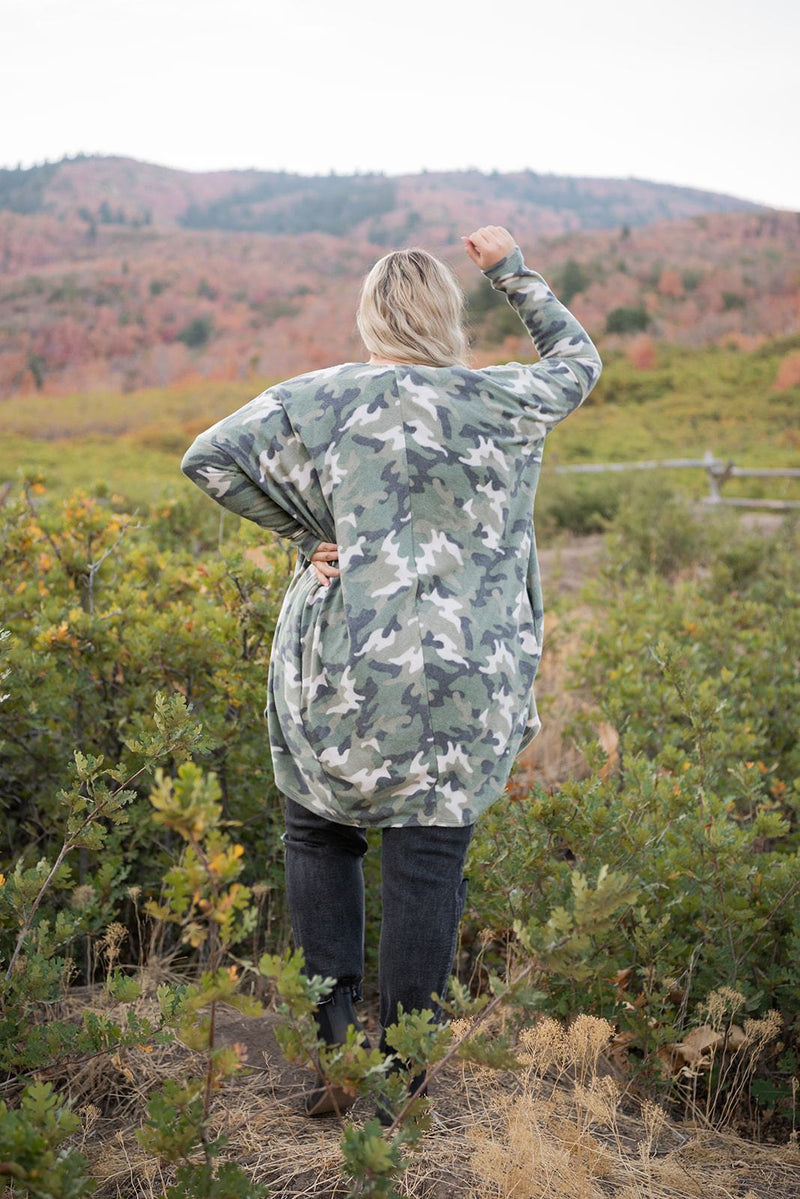 Everywhere I Go Cocoon Cardigan- Camo