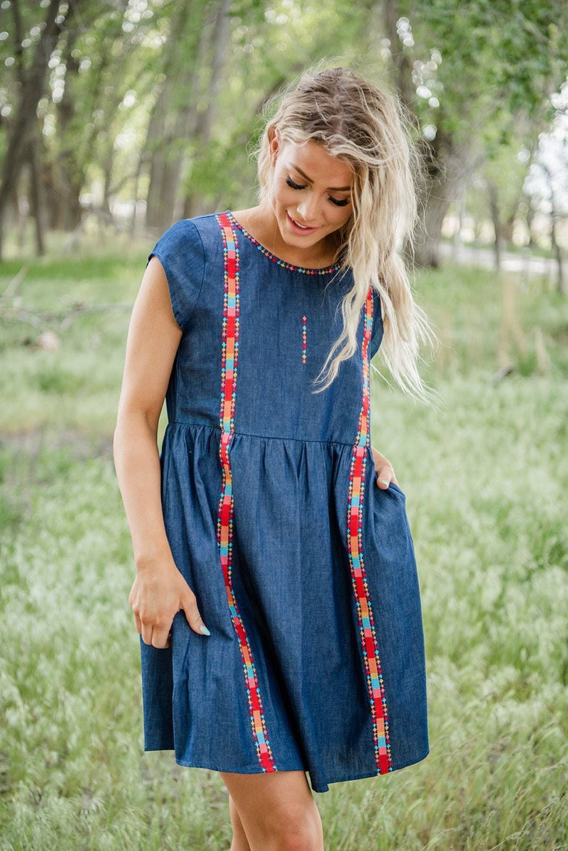 Back In Session Embroidered Dress