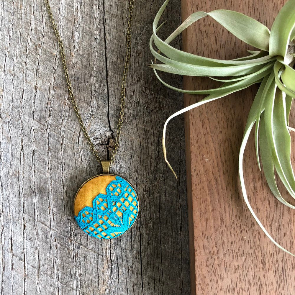 Mustard and Turquoise Lace Pendant