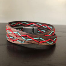 Load image into Gallery viewer, Leather Stitched Wrap Bracelets