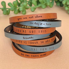 Load image into Gallery viewer, Leather Bracelet w/ Words of Encouragement