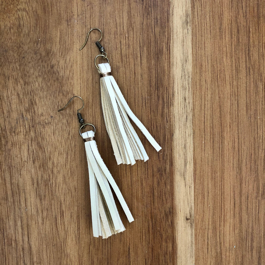 Ivy Leather Tassel Earrings