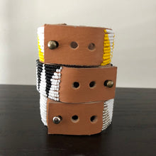 Load image into Gallery viewer, Medium Tri Beaded Leather Cuffs