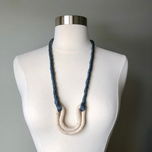 Speckled Ecru + Dusty Blue Double Arc Necklace